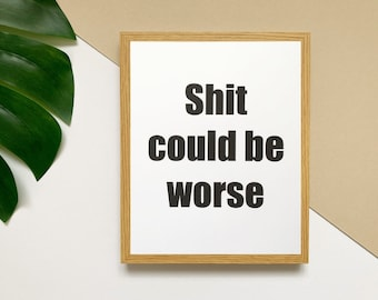 Shit Could Be Worse print, gallery wall poster, funny gifts for men