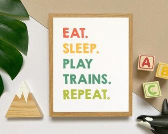 "Eat, sleep, play trains, repeat 8x10"" print • train themed nursery art • train mad kids poster • brightly coloured wall art"