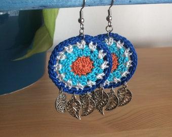 """The """"Blue Wonder"""" Earrings; Crochet Round Earrings; Crochet Earrings"""