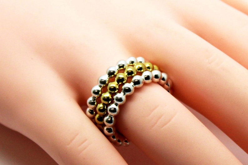 Sterling silver Bubble Stacking Ring in silver or Gold Bead Bubble Rings