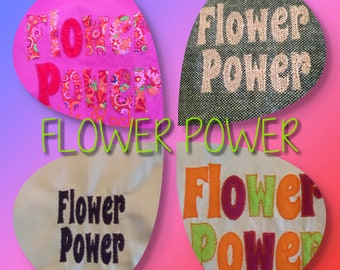 Flower Power text machine embroidery for you, retro 60 fashion 5 designs