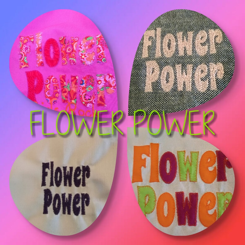 Flower Power text machine embroidery for you retro 60 fashion image 0