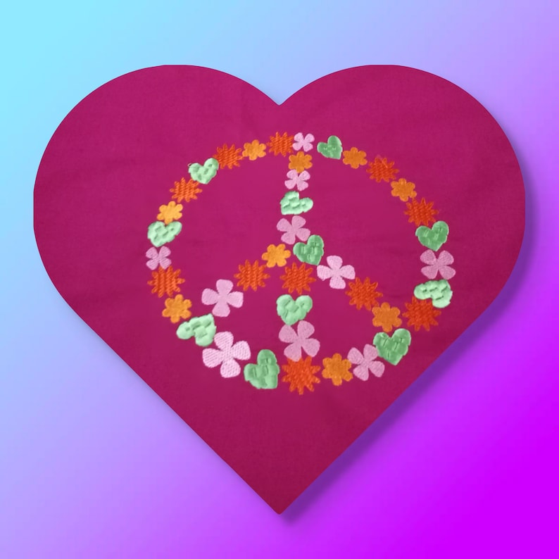 Machine embroidery Peace in your favorit colors image 0