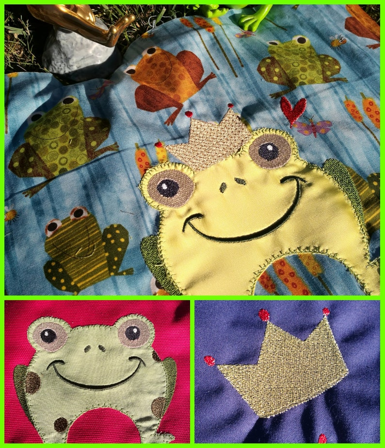 Frogs embroidery and a crown image 0