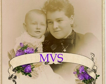 Sweet Smiling Baby & Mom Cabinet Card Vintage Photo Scan MVS Exclusive