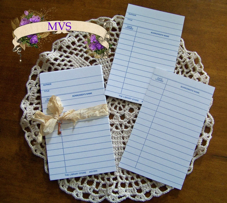 Journaling Blank White Library Cards Lot of 10 use for Altered Art Crafts and More! Tags