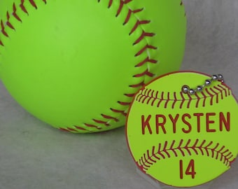 Personalized Softball Gift / Softball Bag Tags / Girls Softball Coaches Gifts / Softball Gift / Softball Team Gift
