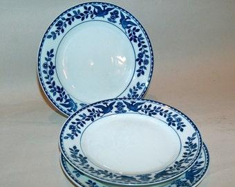p7695: Nippon Twin Phoenix SET 3 Bread Plates Royal Sometuke Blue and White at Vintageway Furniture