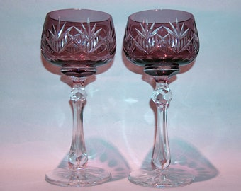 5adfffd3dceb 8597  Vintage SET 2 Purple Amethyst Bohemian Cut to Clear Crystal Wine Hock  Goblets Stems at Vintageway Furniture