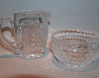 8321: Waterford Alana Sugar Bowl and Creamer Pitcher Set Irish Crystal at Vintageway Furniture