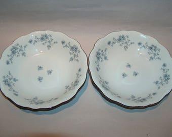 8355: Johann Haviland SET 2 Soup Salad Bowls Blue Garland Bavaria Germany Vintage China Dinnerware at Vintageway Furniture