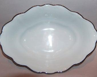 8063: Vintage Johann Haviland Platinum Baroque Oval Serving Bowl White Silver Fine China Porcelain at Vintageway Furniture