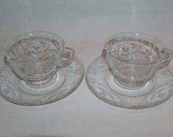 8116: Scarce Vintage Fostoria Shirley Set of 2 Cups and Saucer Set Etched #331Tea Coffee Elegant Glass at Vintageway Furniture
