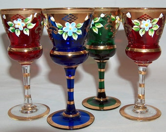 p7762: Bohemian Set 4 Vintage Cordial Stems Hand Painted Enamel Gold Multi Colors Glass at Vintageway Furniture