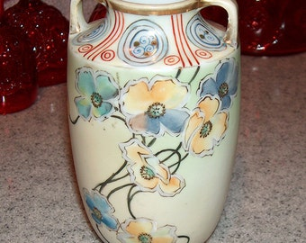 """p7443: Antique NIPPON Vase 6"""" Hand Painted Green Wreath Mark #47 Double Handle Yellow, Green Blue and Red Colors at Vintageway Furniture"""