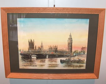 "8209: Vintage Gordon Sommers Framed Print ""Westminster Bridge"" Hand Signed in Pencil LE Lithograph at Vintageway Furniture"