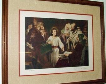 "6122: HOFMANN Print  ""Christ in the Temple"" Framed Vintage Signed Lithograph Fine Wall Art at Vintageway Furniture"