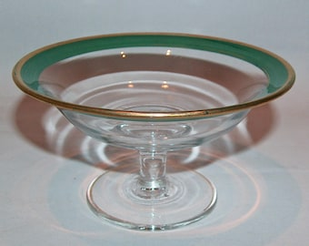8101: Antique Art Deco Green Enamel & Gold Rim Compote Bowl Czechoslovakia Bohemian Glass At Vintageway Furniture
