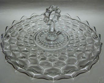8398: Vintage Fostoria American Large Center Handle Serving Sandwich Veggie Fruit Dessert Plate Tray Elegant Glass at Vintageway Furniture