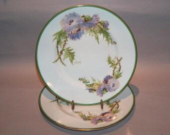 8455: Royal Doulton Glamis Thistle SET 2 Salad Luncheon Plates Artist P Curnock Vintage Fine China at Vintageway Furniture