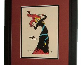 "6025: TOULOUSE LAUTREC Original Print Signed/Dated 1899 ""Jane Avril"" Framed"