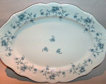 """8333: Vintage Johann Haviland Blue Garland Serving Platter Tray 12.75"""" Bavaria Fine China at Vintageway Furniture"""