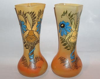8241: Antique Legras SET of 2 Vases Signed Enameled French Art Nouveau Hand Blown Glass at Vintageway Furniture