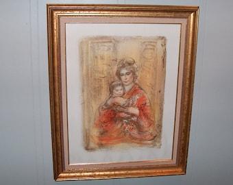"""8170:  Edna Hibel (1917-2014) Elsa & Baby I Signed and Numbered LE 81/225 Framed Print Lithograph 28"""" x 35"""" Fine Art @ Vintageway Furniture"""