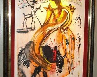 "p7054:  SALVADOR DALI ""Butterfly Bullfighter"" Vintage Original Print S/N Framed Lithograph Fine Art Limited Edition at Vintageway Furniture"