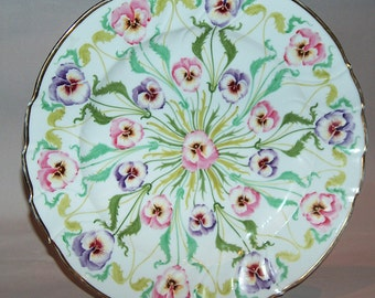 "p7578: Antique ""SAXE"" Large 13"" Charger Cabinet Plate Tray Hand Painted Violets Platter Scalloped  Gold Trim at Vintageway Furniture"