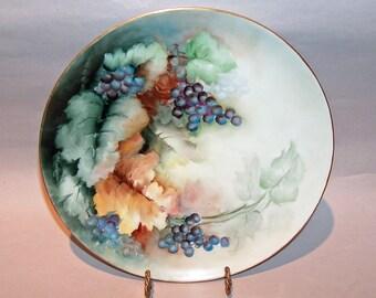 8537:  Haviland France Artist Signed Limoges Cabinet Plate Grapes Hand Painted Antique Porcelain at Vintageway Furniture