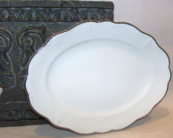 8272: Johann Haviland Platinum Baroque Oval Serving Platter White Silver Vintage China Dinnerware at Vintageway Furniture