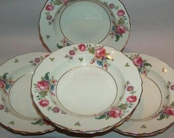 p7698: Thomas Ivory SET 7 Soup Bowls Rosemont Bavaria Lovely Vintage China Dresden Flowers Pink Roses at Vintageway Furniture