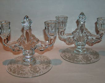 8338: PAIR 1930's Heisey Trident Rosaie Etching Double Candlesticks Elegant Depression Glass at Vintageway Furniture