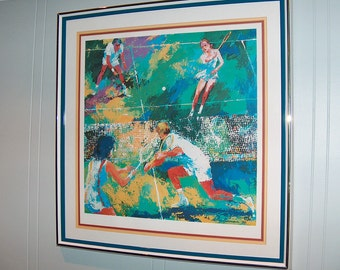"p7794: LeRoy Neiman Hand Signed 26 x 27 Framed COA ""Doubles"" Seriograph Print at Vintageway Furniture"