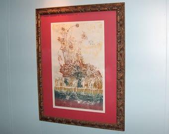 "8228: Vintage Artist Gabrielle Brill Signed & No. 17/100 LE Print Lithograph ""A Mirror"" Framed Fine Art at Vintageway Furniture"