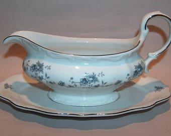 8356: Johann Haviland Gravy Boat Bowl with Under Plate Blue Garland Vintage China Dinnerware at Vintageway Furniture