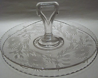 "8499: Vintage Cambridge Glass Wheel Cut Floral Center Handle Tray Sandwich 10"" Appetizer Sandwich Tidbit Tray Plate  at Vintageway Furniture"