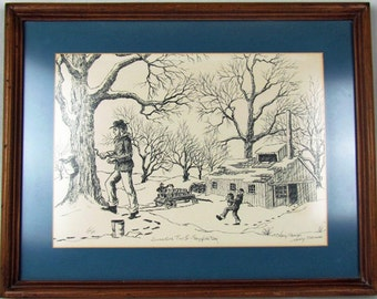 p7521: NANCY THOMAS Print Hand Signed Numbered Titled  Sugaring Time II Tapping Day Nicely Framed 35 of 300 Vintageway Furntiure Fine Art