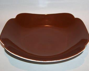 "8350: Continental Kilns Pottery Vintage Brown Serving Vegetable Bowl Woodleaf 10"" x 10"" Mid Century Pottery Dinnerware Vintageway Furniture"