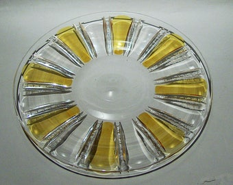"8428: Vintage Czech Bohemian Yellow Amber Cut to Clear Serving Plate Tray 10"" Paneled Zippered Glass Crystal at Vintageway Furniture"