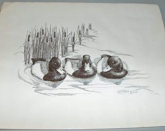 p7923: Vintage Frank Hnat Pencil Signed & Numbered Limited Edition Print 15/100 Fine Art at Vintageway Furniture