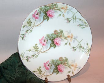 8194: Antique Signed HR Bavaria Cabinet Plate Pink Roses Farmhouse Cottage Chic Vintage Porcelain China at Vintageway Furniture