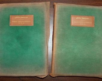 p7390 Elbert Hubbard 1904 Illuminated Little Journeys Great Philosophers Set 2 Books Leather Cover Biographies at Vintageway Furniture
