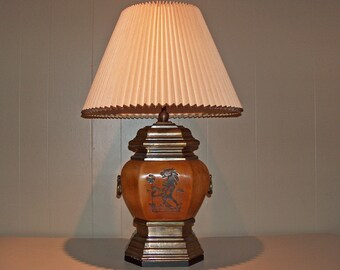 "8505: Vintage Signed Chapman Leather Table Lamp with Shade 29"" at  Vintageway Furniture"
