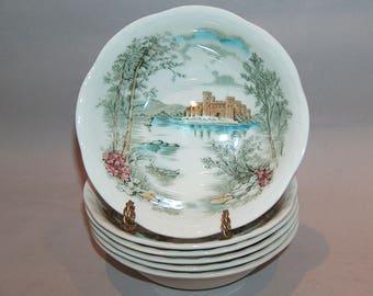8182: Vintage Alfred Meakin SET 6 Cereal Bowls Queen's Castle Staffordshire England at Vintageway Furniture