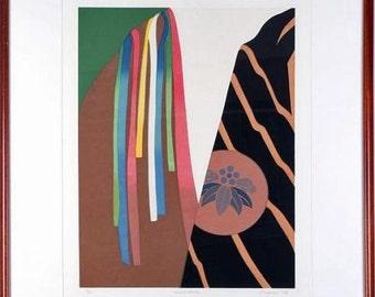 "6343: Eugenie TORGERSON Print ""Second Costume"" Framed Signed and Numbered Silkscreen Vintage Fine Art Modern at Vintageway Furniture"