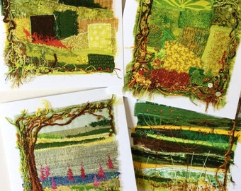 Set of four textile art greetings cards