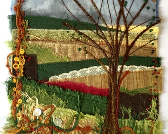 Tree in February. Textile landscape picture.