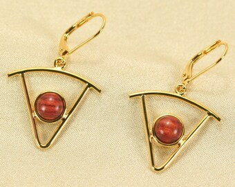 Triangle earrings gold with pink wood, New design earrings for sale, Dangle earrings, Wood earrings gold, rosewood earrings, Handmade